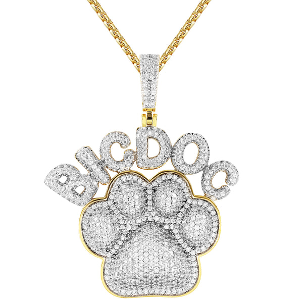 Men's Custom Big Dog Paw Animal 14k Gold Finish Hip Hop Pendant