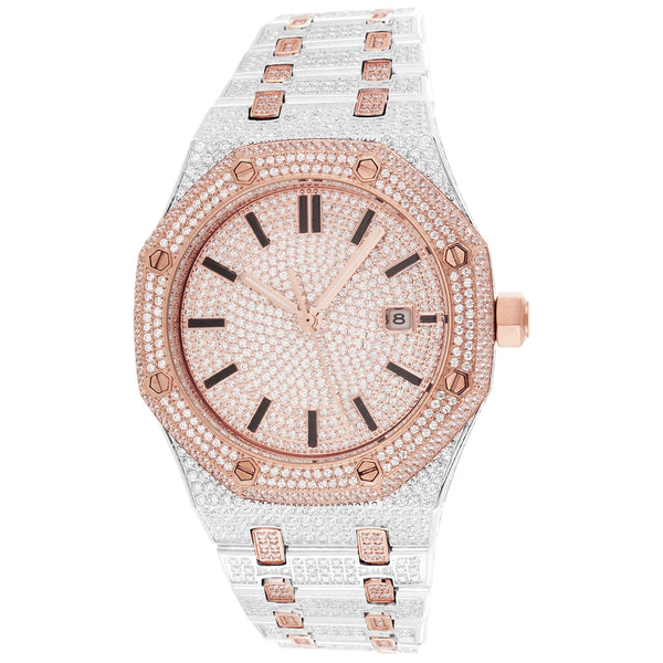 Men's Steel Luxury 41mm Presidential Face Two-Tone Rose Gold Watch