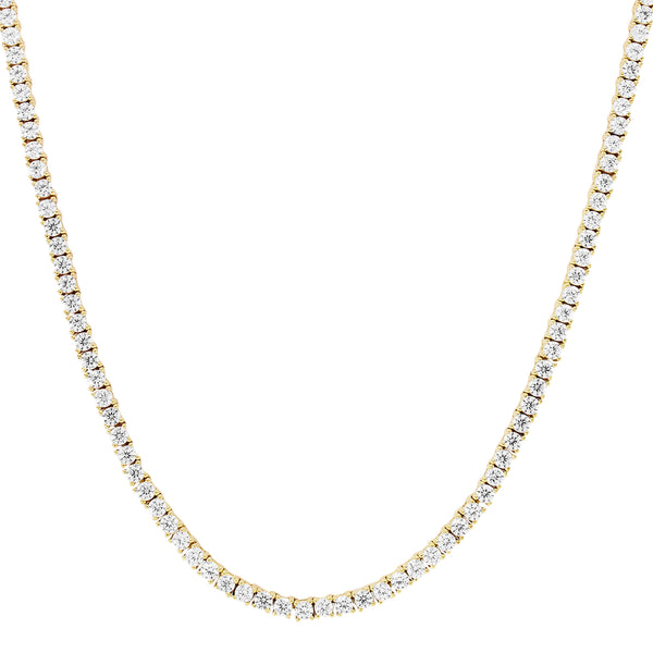 Mens 10K Gold 1 Row Tennis Choker 2MM Chain Micro Necklace