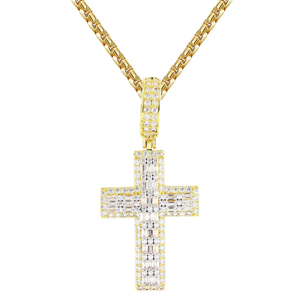 Sterling Silver 2 Row Baguette Holy Cross Religious God Pendant
