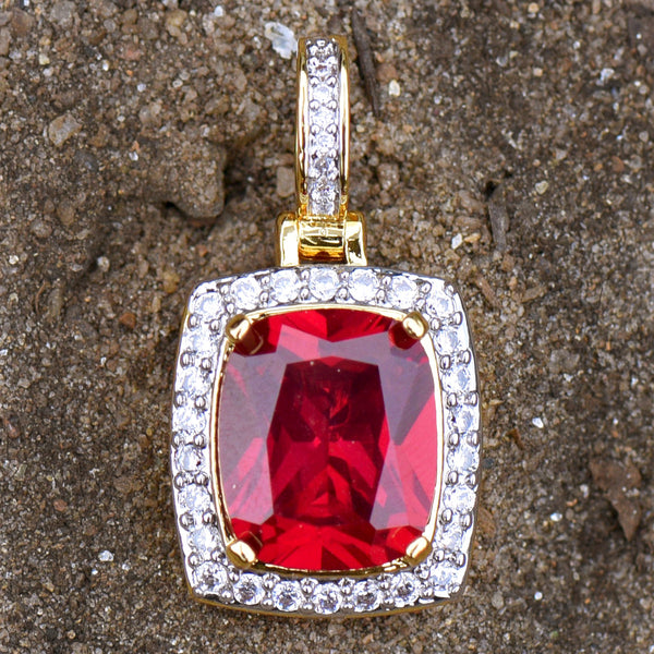Red Ruby CZ Pendant 18K Gold Plated Solitaire Birdman Rapper Celeb Wear Charm