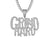 Grind Hard 925 Silver White Finish Bling Rapper Pendant Chain