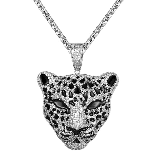 Panther Cat Head Bling Designer Mens Pendant Free Box Chain