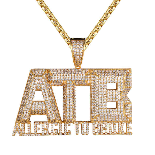 Allergic To Broke 3D ATB Micro Pave Hip Hop Silver Pendant