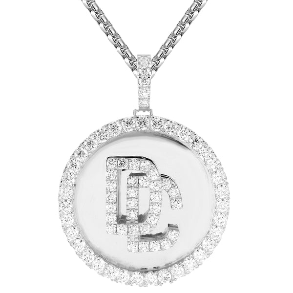 Solitaire Medallion Dream Chaser 3D .925 Silver Pendant Chain