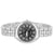Women's Quartz Silver Tone Black Face Metal Link Watch