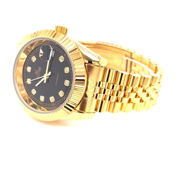 Mens Gold Finish Black Dial Automatic Movement Steel Watch