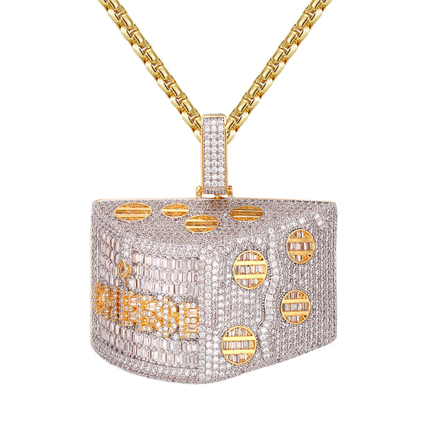 Icy Gold Tone Get the Cheese Baguette 3D Custom Pendant