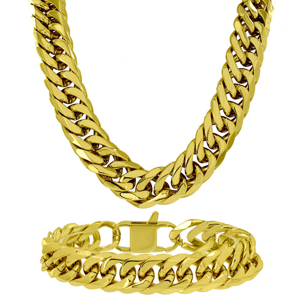 Miami Cuban 14k Gold Finish Chain In Stainless Steel Mens Lobster Lock 30.5 Inch