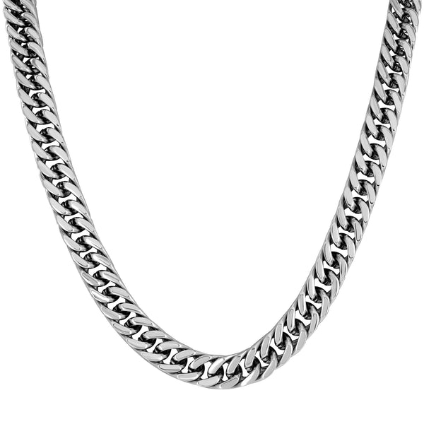 Stainless Steel Miami Cuban Chain White Gold Finish Mens Brand New 8 MM Elegant