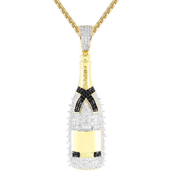 Men's Spikes Champagne Bottle Black Ribbon  Pendant