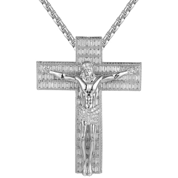 White Religious Baguette Icy Jesus Crucifix Cross Big Pendant