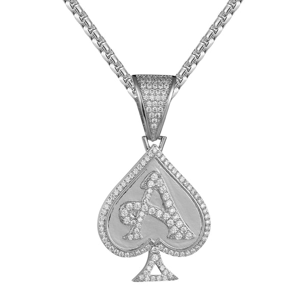Poker Playing Card Ace Of Spade Hip Hop Icy Pendant Chain
