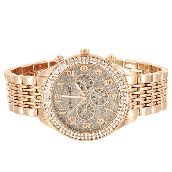 Rose Gold Tone Micro Pave Bezel Men's Metal Band Watch