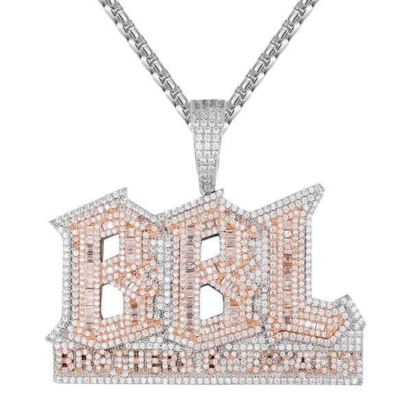 Brothers By Loyalty BBL Baguette Double Layer Icy Pendant