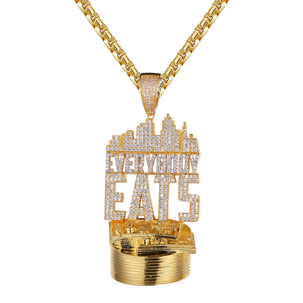 Gold Finish Everybody Eats Hustler Custom Designer Pendant