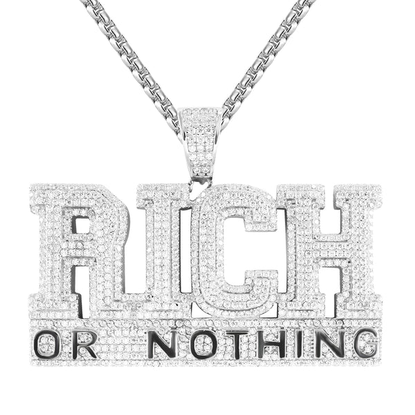 Mens Rich Or Nothing Bling .925 Silver Bling Double Layer Pendant