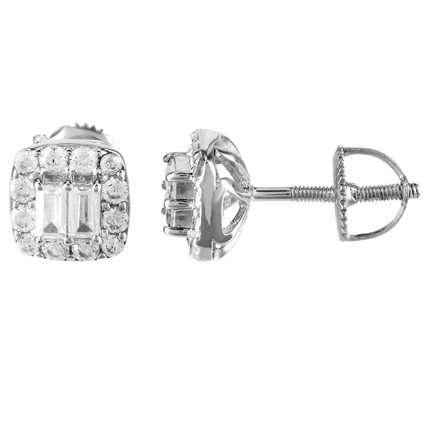 Sterling Silver Square Icy Baguette Prong Set Screw Back Earrings