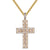 Gold Tone Two Row Baguette Cross Micro Pave Pendant