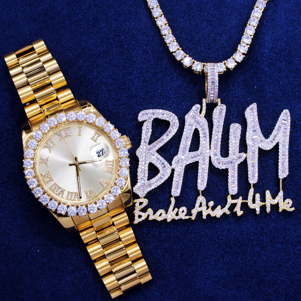 Gold Tone Roman Stainless Steel Watch Broke Aint 4 Me Combo