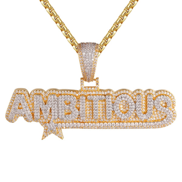 Gold Finish Ambitious Star Two Tone Bling Rapper Pendant Chain