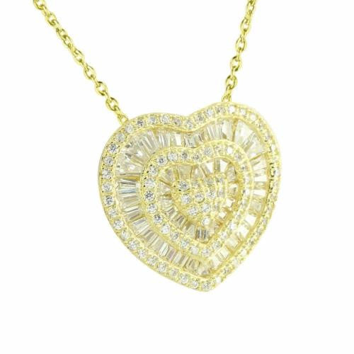 Ladies Heart Pendant Necklace Gold Over Sterling Silver