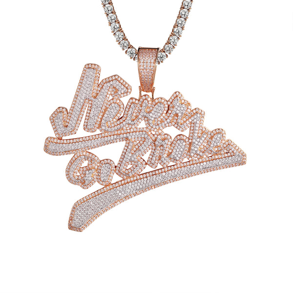 Never Go Broke Rose Gold Tone 3D Bling Rich Rapper Pendant