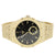Men's Black Gold Tone Fashion Watch Stainless Steel Back