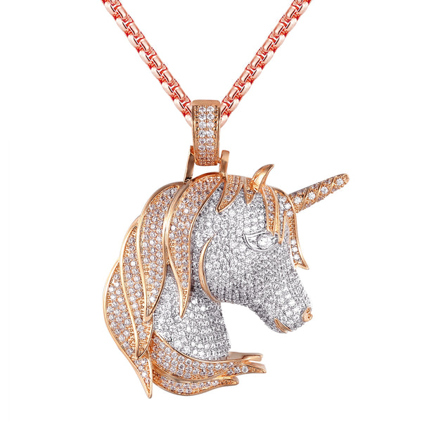 Silver Lucky Unicorn Animal Face Rose Gold Finish Pendant