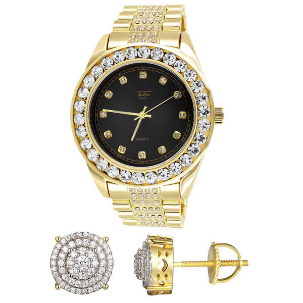 Black Dial Presidential Gold Finish Iced Watch Silver Earrings Combo