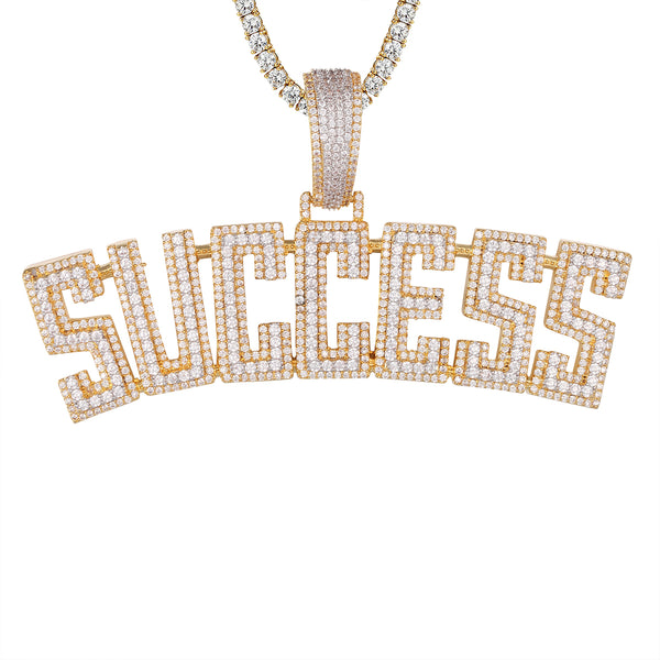 Gold Tone Success Icy Double Layer Block Pendant Chain