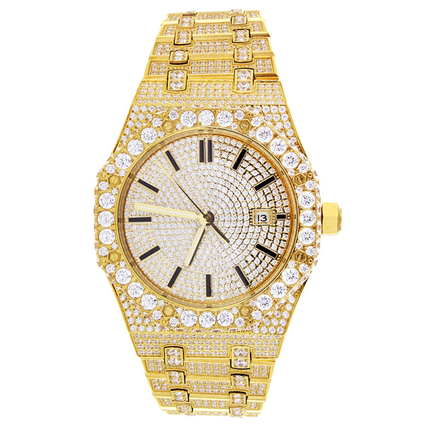 Gold Tone Solitaire Bezel Presidential Steel 41MM Watch