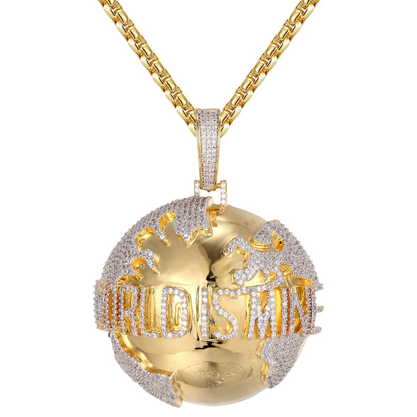 Gold Tone World is Mine Icy Globe Map 3D Hip Hop Pendant Chain