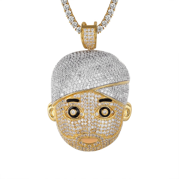 Gold Finish Turban Man Face Emoji Hip Hop Custom Pendant