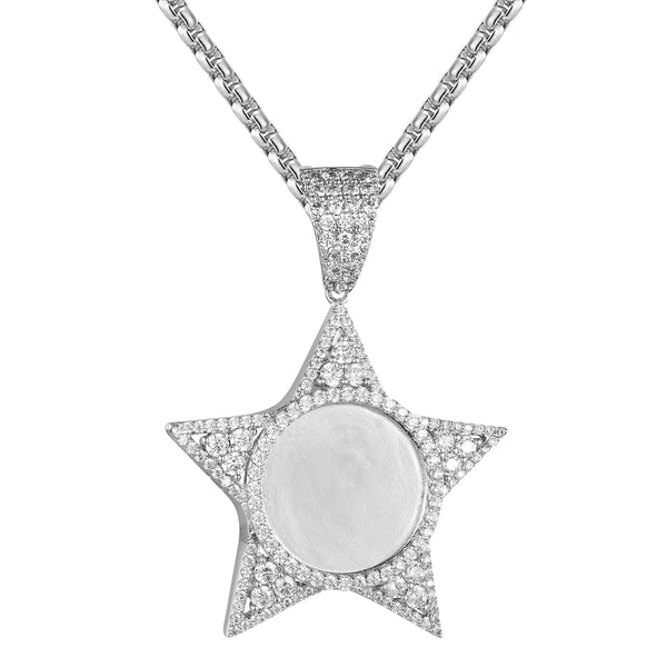 Star Shape Icy Bling Picture Circle Frame Picture Pendant Gift