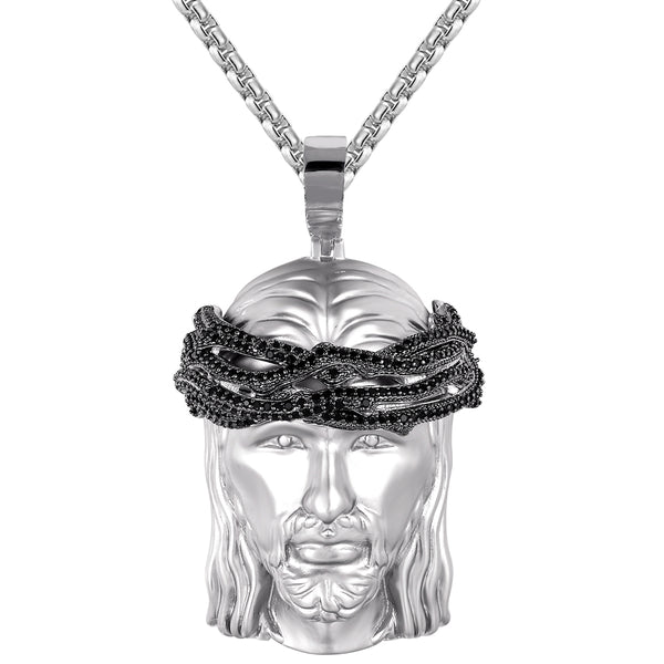 925 Silver Holy Jesus Matte Black Icy Crown Catholic God Pendant