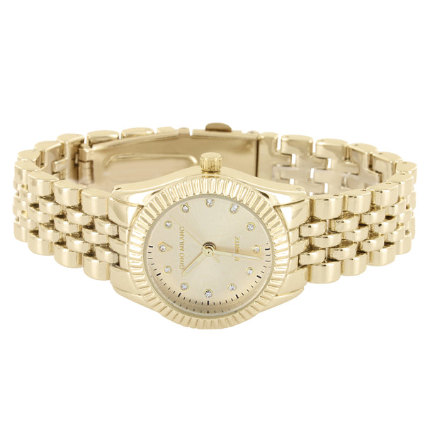 Women's Gold Tone Fluted Bezel Accented Gold Face Metal Watch