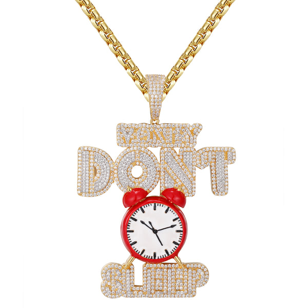 Money Dont Sleep 925 Silver Alarm Clock Icy Hip Hop Pendant