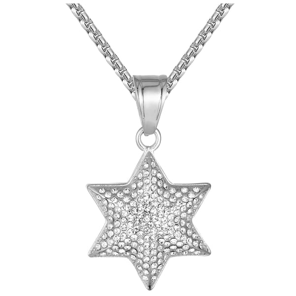 Stainless Steel Six Point Star 3D Apopo Iced Out Pendant 24