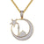 Bling Crescent Moon Star Mosque Islamic Pendant Free Box Chain