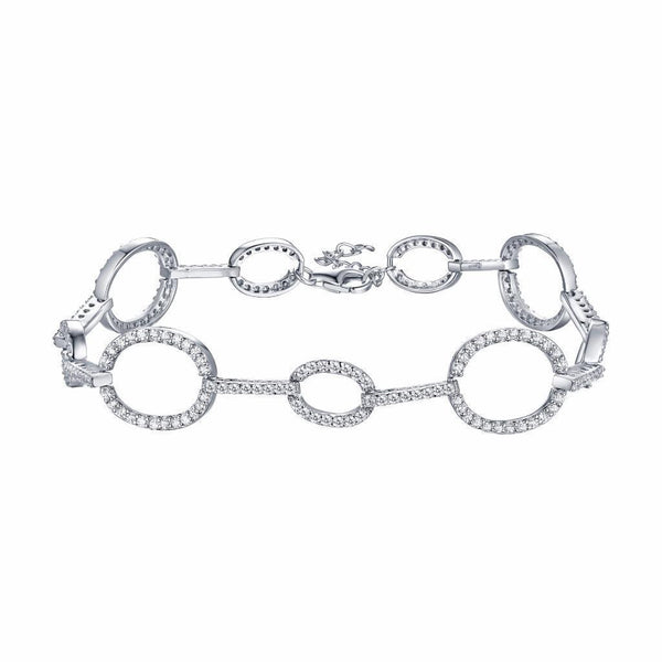 Ladies Oval Link Bracelet White Gold Over 925 Silver