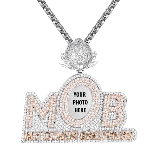Two Tone Rose My Other Brothers MOB Picture Icy Pendant Chain