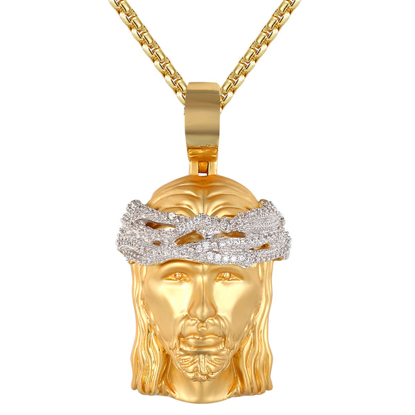 Mini Jesus Head Religious Charm Gold Finish Bling Crown Silver