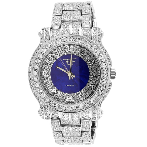 White Finish Techno Pave Bling Round Blue Dial Mens Watch