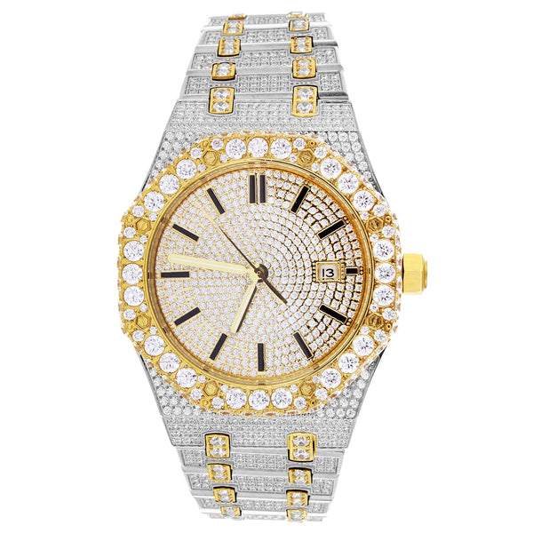 Custom Bling Steel Two Tone Automatic Luxury Mens Watch