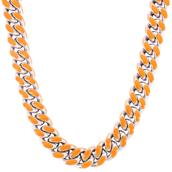Steel 13MM Miami Cuban Link Orange Enamel White Tone Chain