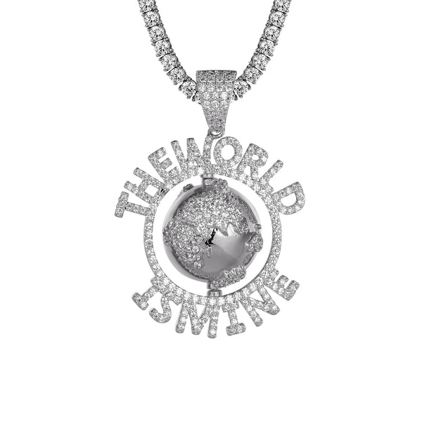 The World Is Mine Spinner Globe Map Bling Custom Pendant