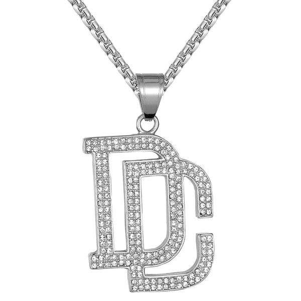 Men's Dream Chasers Steel DC IcedOut Logo Rapper Pendant