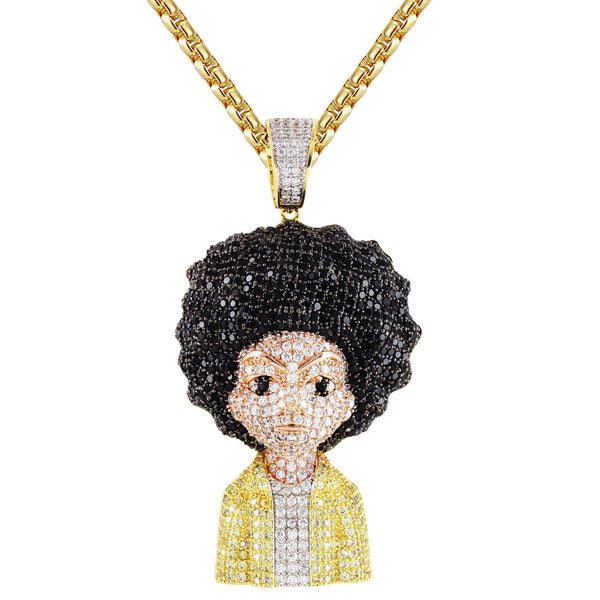 Mens Cartoon Character Bling Rapper Gold Finish Pendant Chain