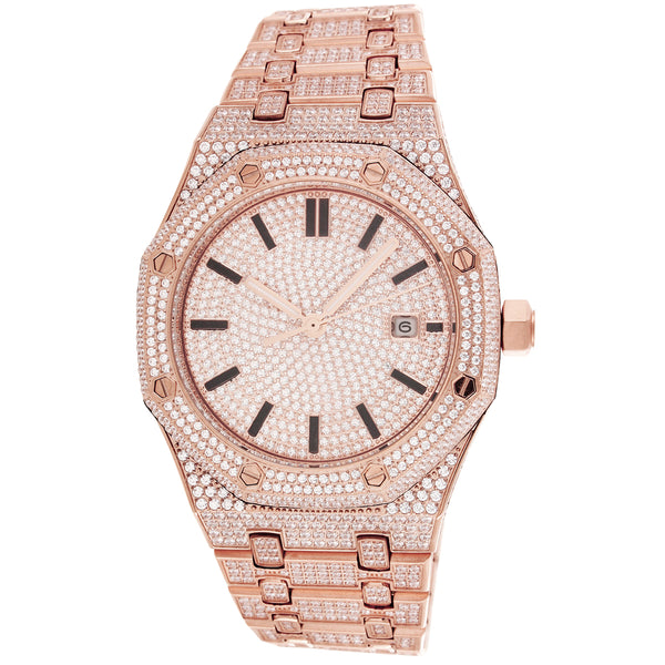 Men's Steel Solitaire Face  Exclusive Rose-Gold Watch